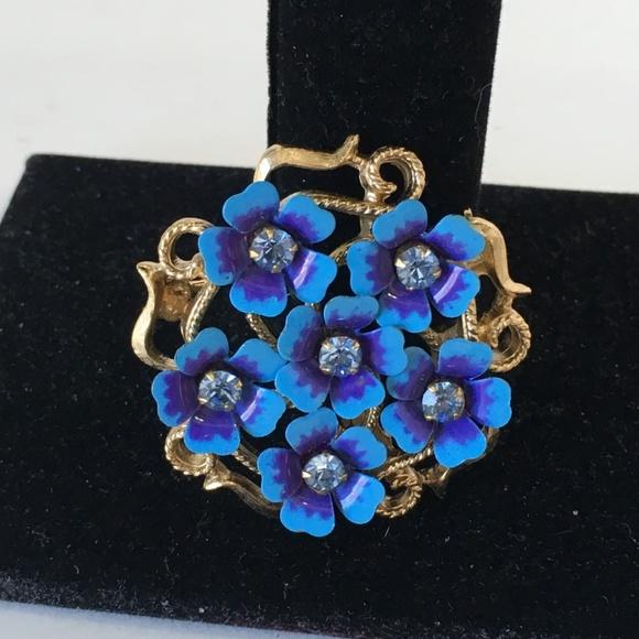 AVON Blue Love Blossoms Convertible Brooch/Pendant